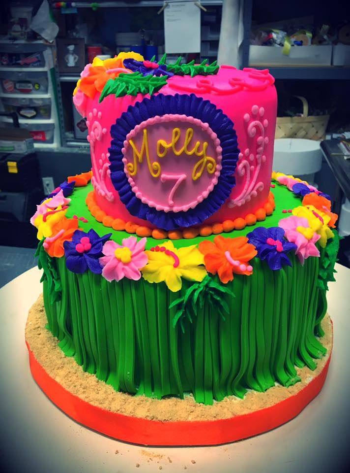 Awesome Hawaiian Luau Birthday Cake Adrienne Co Bakery With Images Funny Birthday Cards Online Elaedamsfinfo