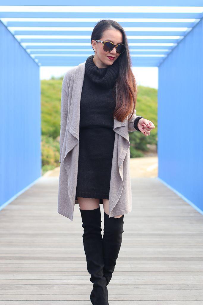 Drapey Cardigan And Sweater Dress Petite Fashion Petite Style