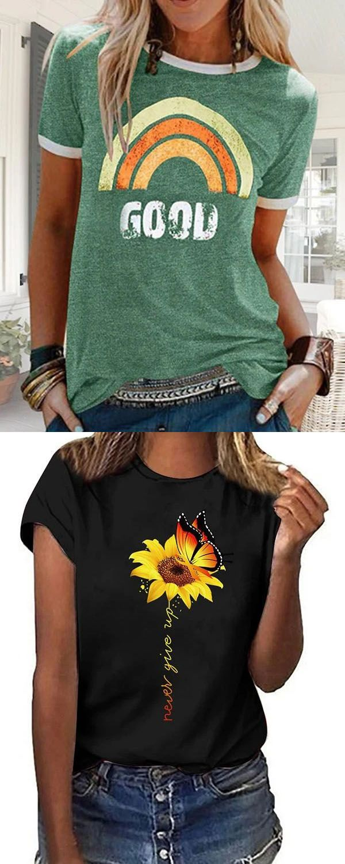 Hot Sale!Casual Simple Loose Print T-Shirt