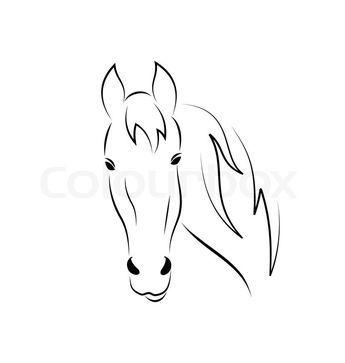 Stock Vektor Von Symbol Umriss Kopf Pferd Auf Weißem