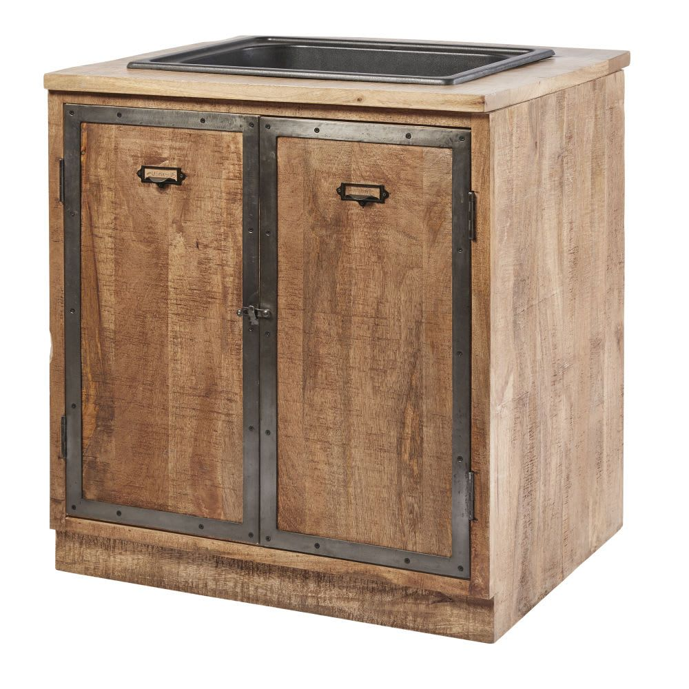 MELCHIOR - Meuble bas de cuisine avec évier 10 portes en manguier