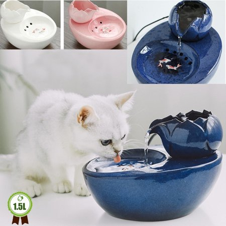 Cat Ceramic Water Fountain Automatic Pet Drinking Fountain Electric Dog Water Dispenser With Fish Ultra Quiet Water Bowl For Cats And Dogs Walmart Com In 2020 Dog Water Dispenser Cat Water
