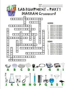 Lab Equipment Crossword with Diagram - Part 1 - FREE! Editable