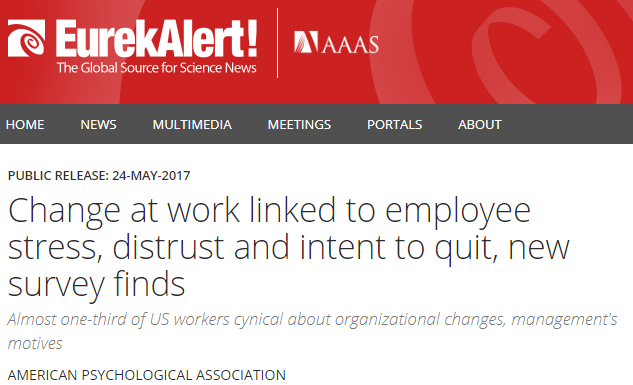 Press Release: Change at work linked to employee stress ...