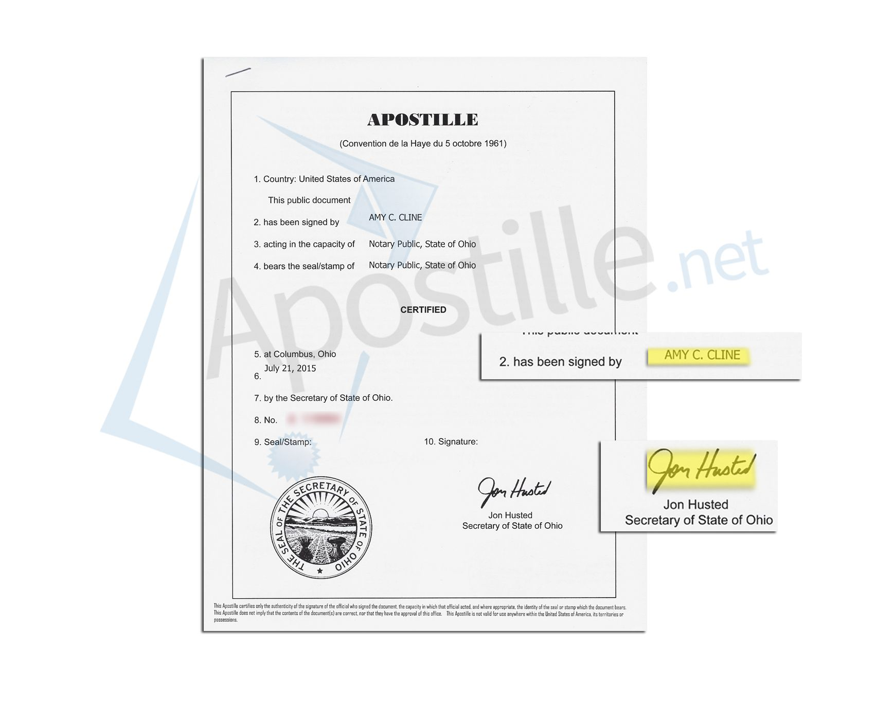 State of Ohio apostille issued by Jon Husted Secretary of