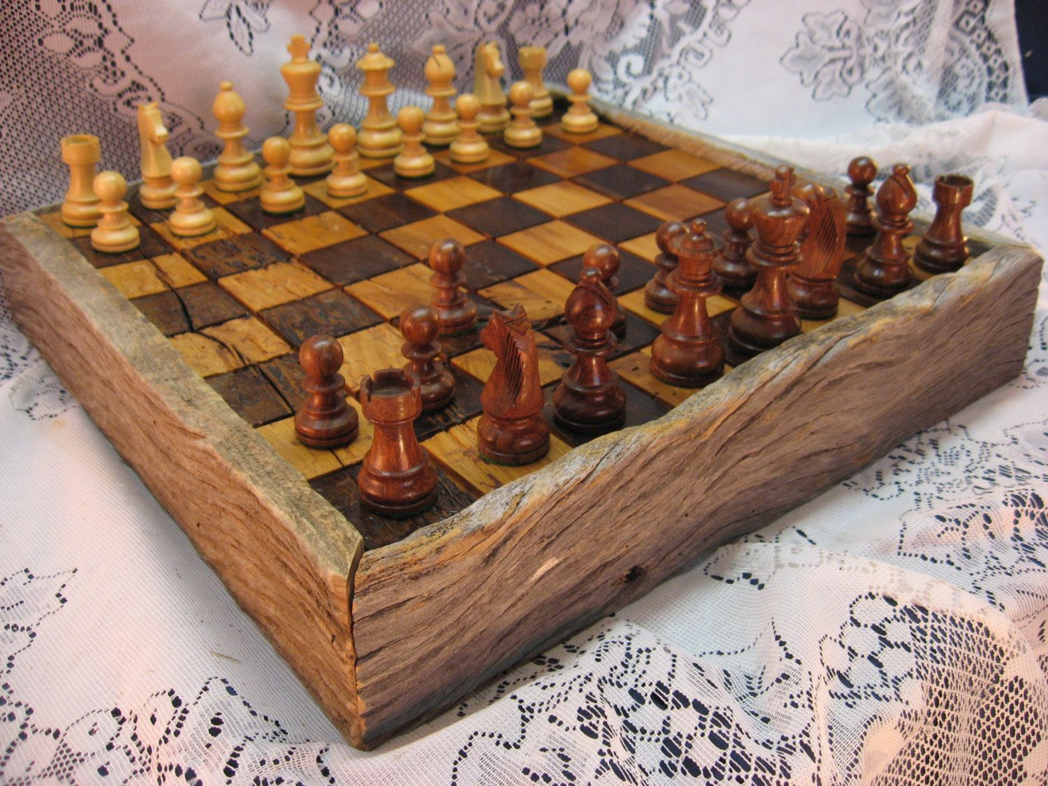 Wormy Chestnut Chess Set From Reclaimed 1830u0027s Barn Beams By  Heirloomwoodworks On Etsy