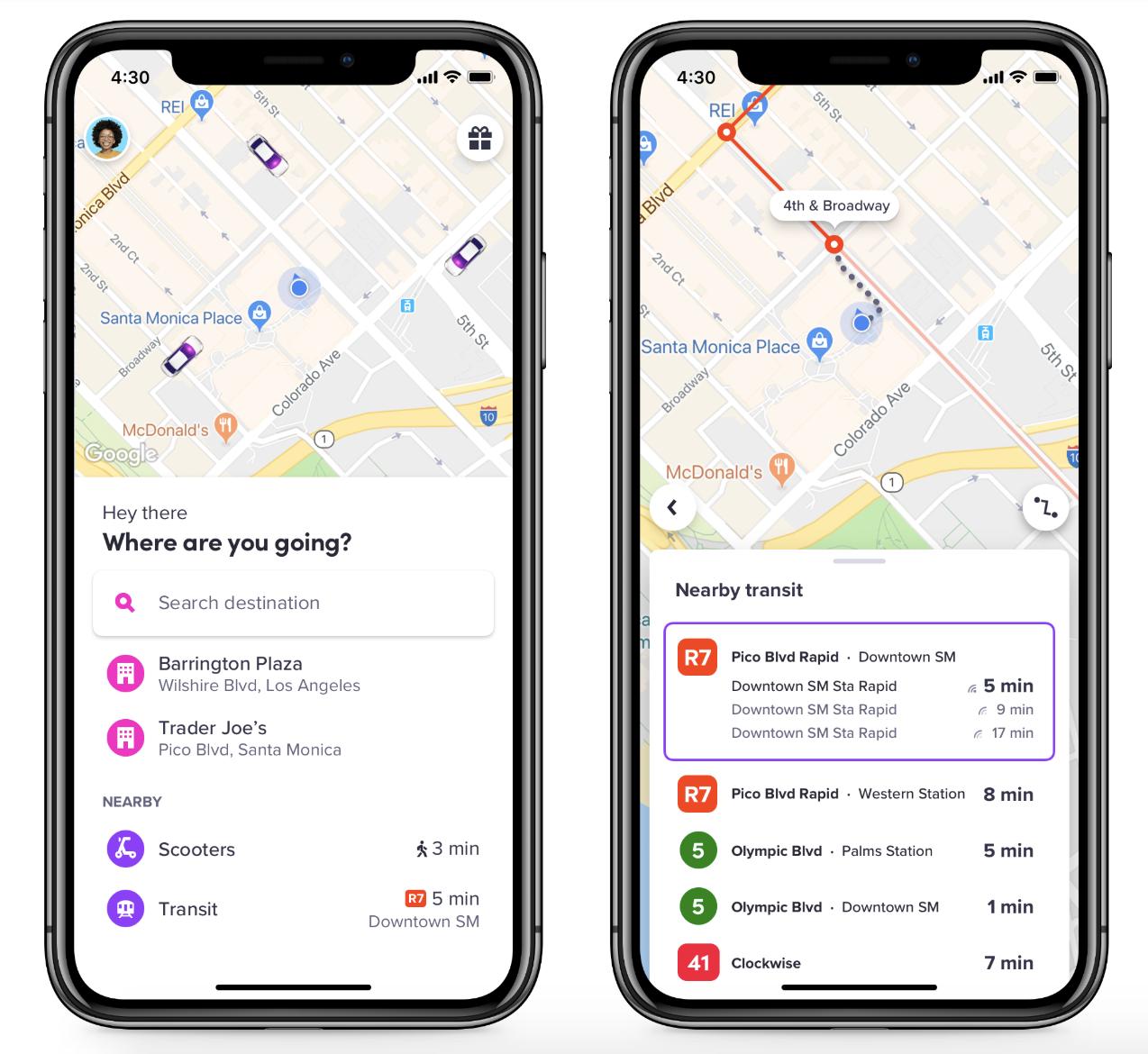 Lyft now integrates public transit info in app App
