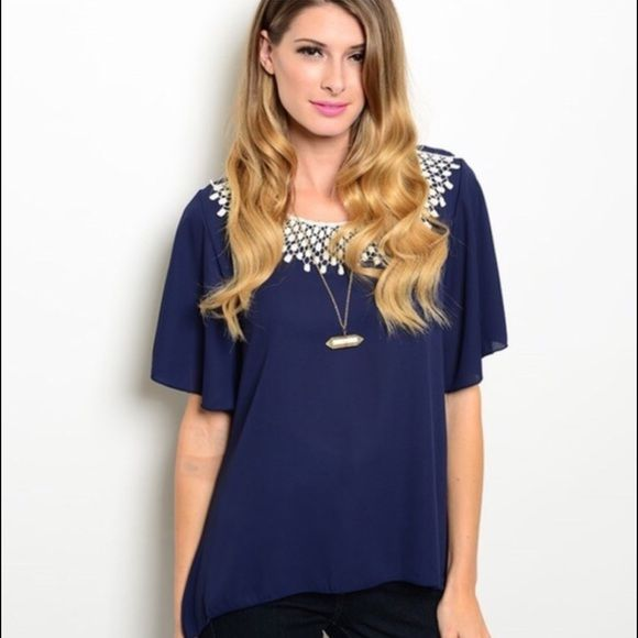 LAST ONE! navy Blouse with White Crochet Detail Two left! Navy Blouse with White Crochet Detail Tops