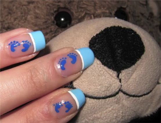 A simple Nail Art Design for baby shower. Go pink for baby girls and go baby  blue for baby boys. When the baby grows up show them the photos. - Expecting Mothers That Love To Paint There Nails Need To Click Here