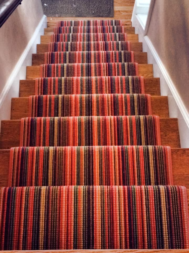 A Colorful Carpet Remnant Turned Into A Custom Stair Runner. Check Out  Thecarpetworkroom.com For More Info And Ideas! #striped_stair_runner