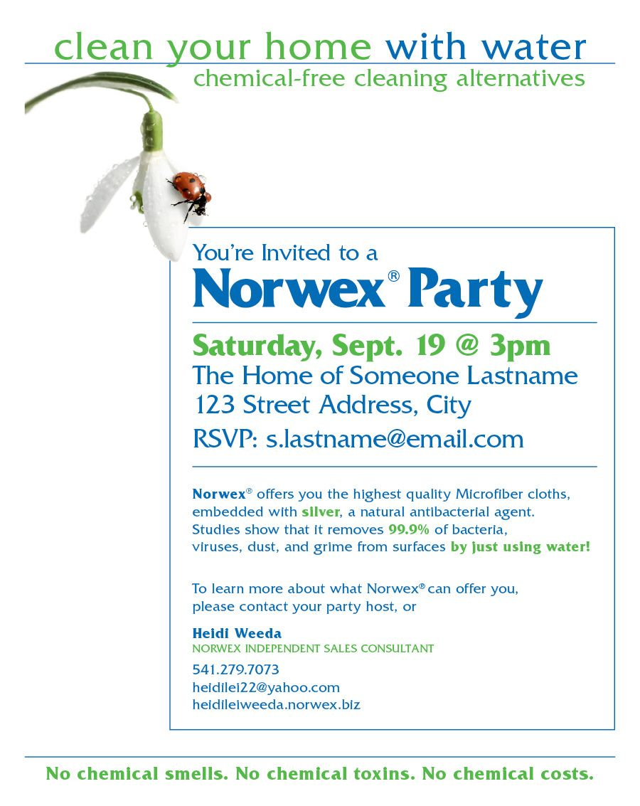 norwex party invitation | Ocassionally, I am forced to design in ...