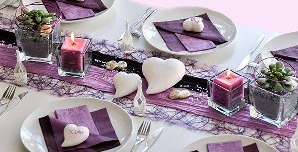 Tischdeko silber violett google suche wedding hochzeit - Tischdeko bambus ...