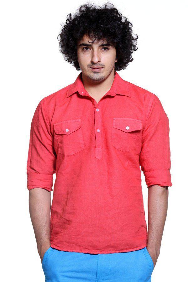 Carrot Red Kurta Placket Linen Shirt
