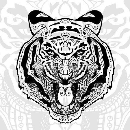 El tigre blanco y negro de impresin con patrones tnicos