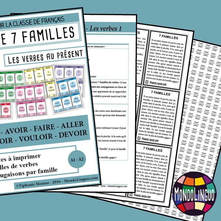 7f Les Verbes 1 Present Jeux Des 7 Familles Les Sentiments Jeux De Vocabulaire