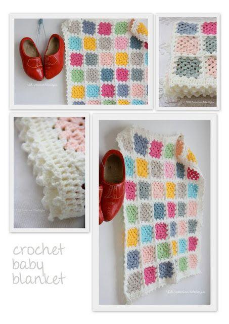 Crochet white baby blanket