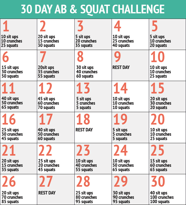 photo relating to 30 Day Squat Challenge Printable called 30 Working day Ab Squat Problem Workout routines 30 working day conditioning