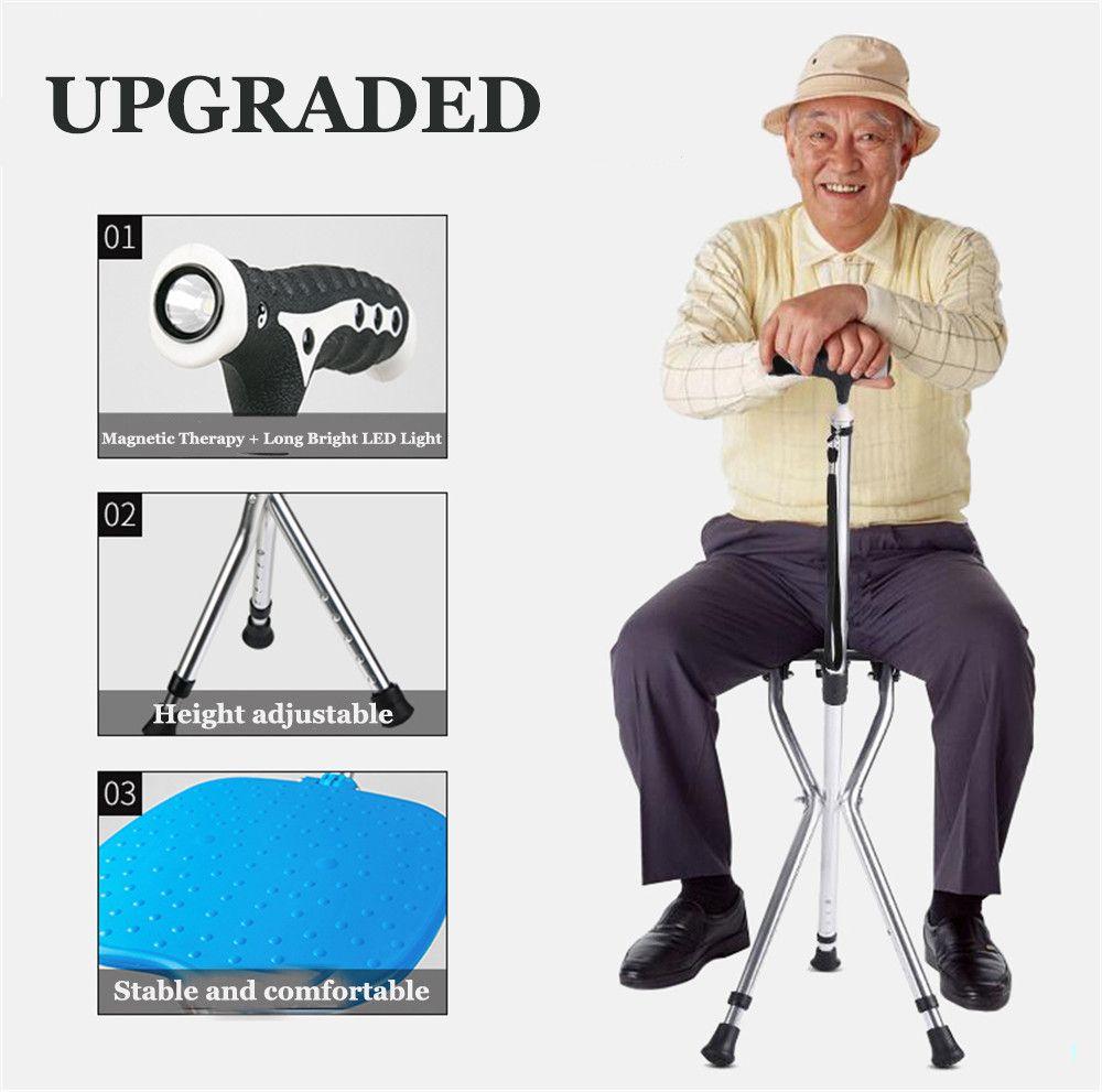 Walking Stick Elderly Portable Folding Chair Led Walker Cane Stool Folding Chair Walking Sticks Portable Chair