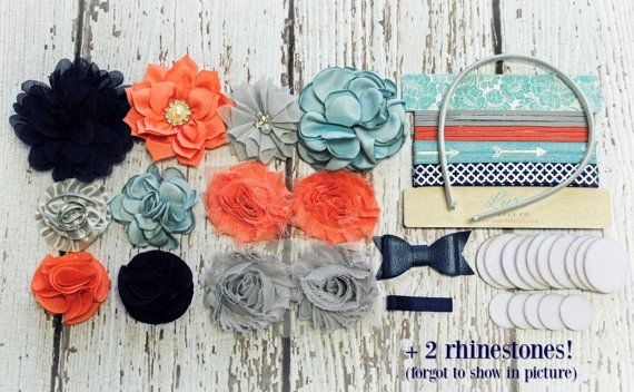 DIY Craft Kit - Makes 8+ Headbands! Nevada Sunrise - Navy, Salmon, Grey, Nile Blue - Baby Shower Headband Station - Urban - Trendy - Flowers