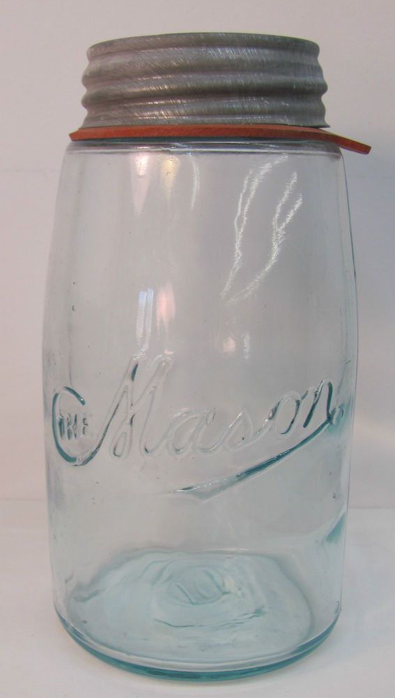 Vintage Aqua Blue The Mason Quart Mason Jar W New Ball Zinc Lid