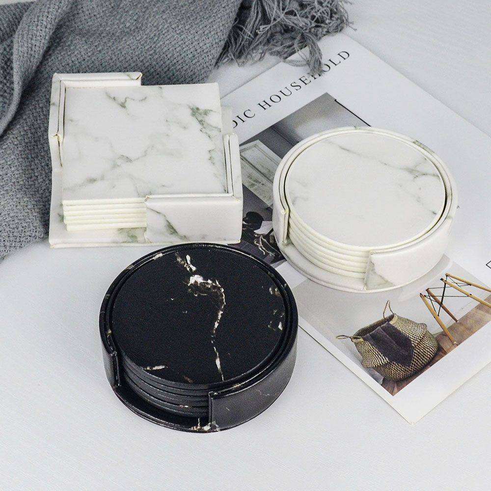 Cheap Mats Pads Buy Directly From China Suppliers Creative Pu Leather Marble Coaster Drink Coffe Leather Coaster Set Dining Table Placemats Leather Coasters