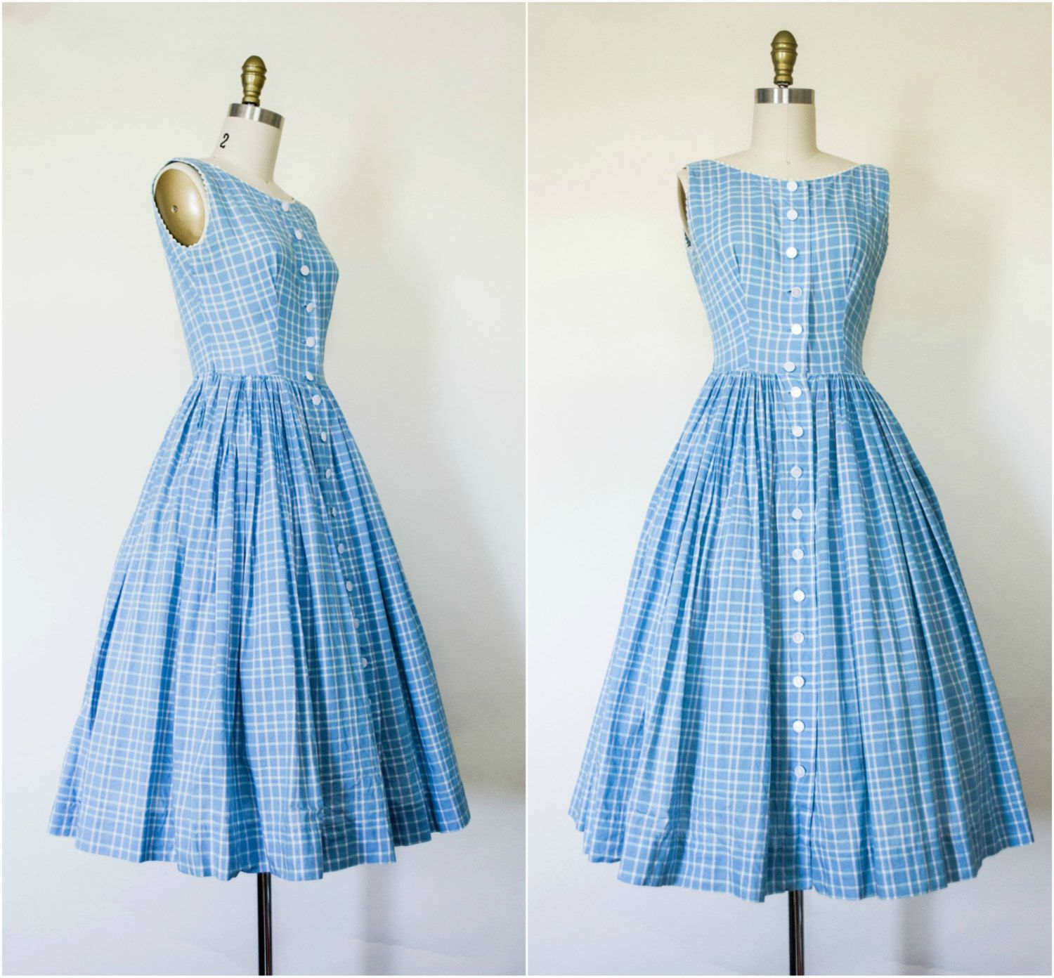 63096467dd8 1950s style summer sun dress . vintage 50s Lanz Originals baby blue  sleeveless cotton sundress with full skirt . button up front small by  VelvetPinVintage ...