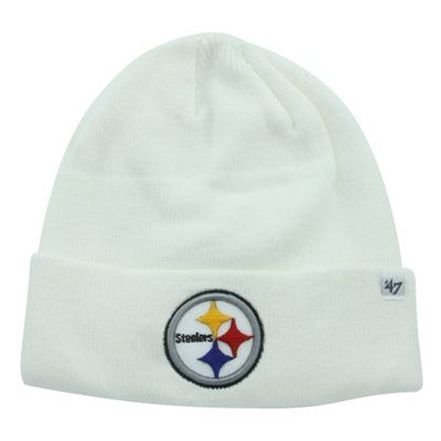 Mens Pittsburgh Steelers '47 Brand White Raised Cuffed Knit Hat