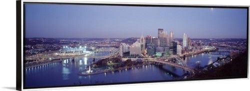 Canvas with Floating Frame entitled Pittsburgh PA, Silver