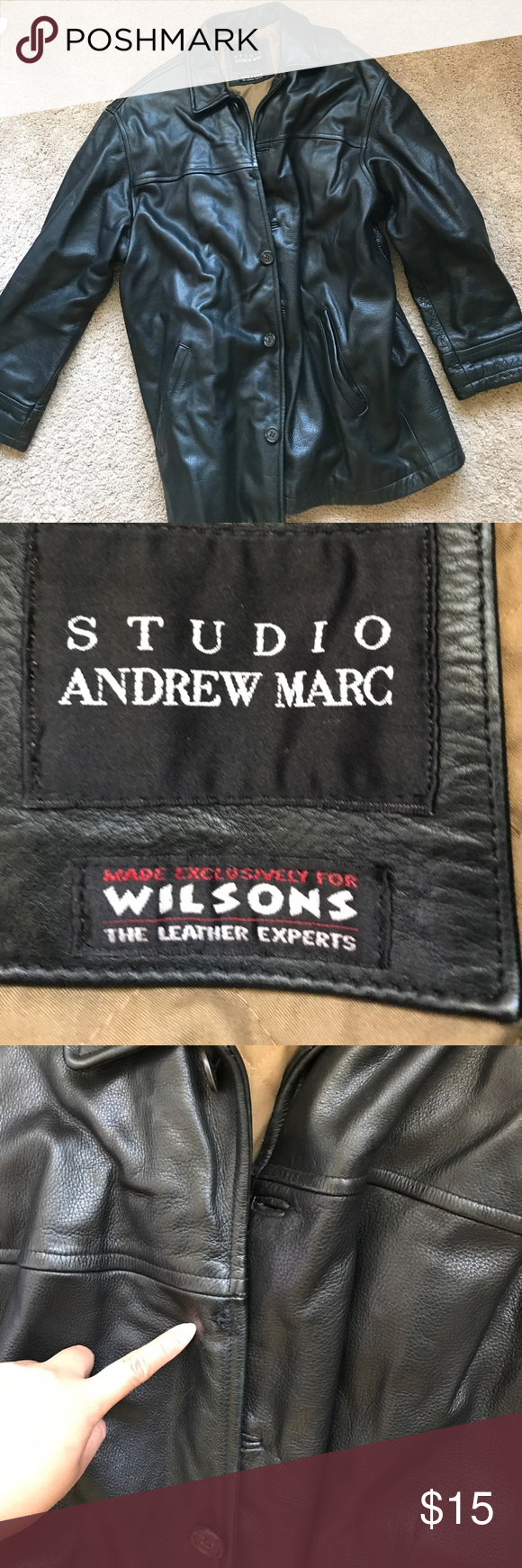 Leather jacket from Studio - Andrew Marc Great condition, only missing one button on the jacket. Made exclusively for Wilsons Andrew Marc Jackets & Coats