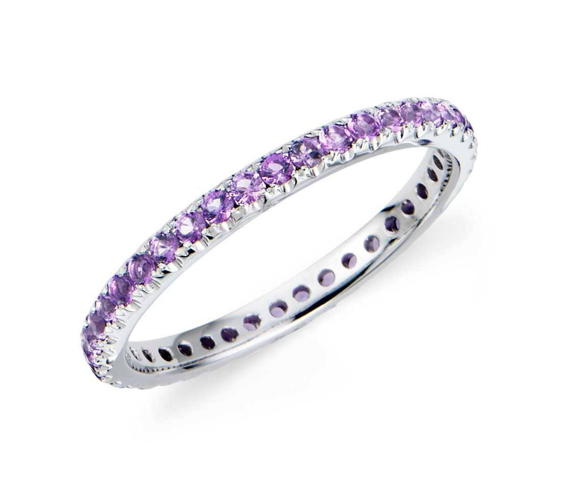 Amethyst Eternity Ring In 18k White Gold  #ring #wedding #purple #jewelry