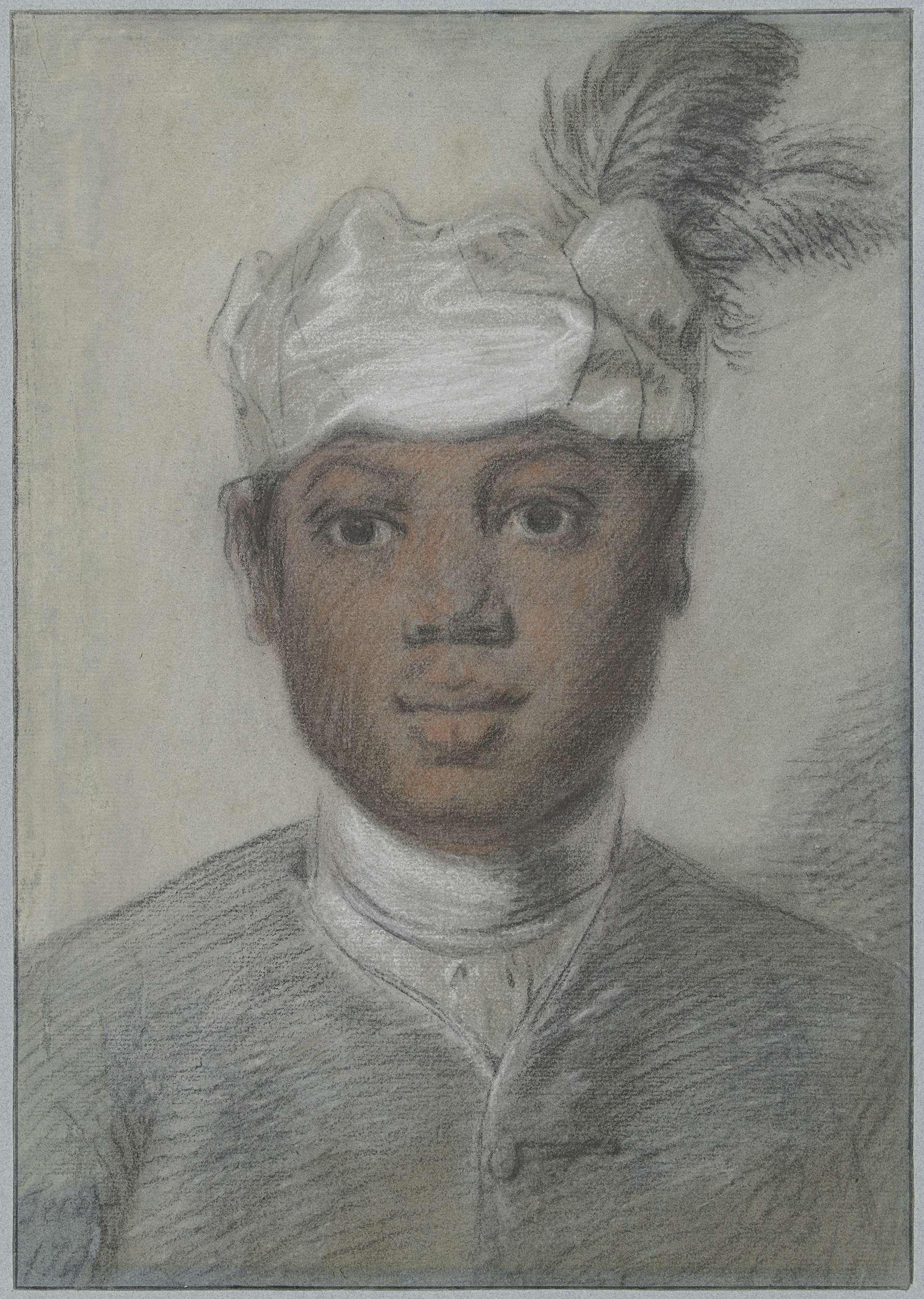 Cornelis Troost | Hoofd van een zwarte jongeman met tulband met veren, Cornelis Troost, 1747 |