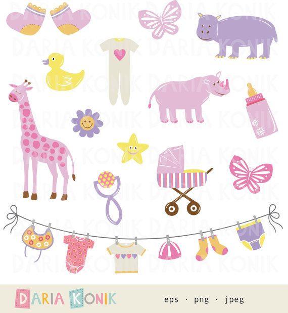Baby Girl Clip Art Set-new baby, baby girl, pink, giraffe, hippo ...