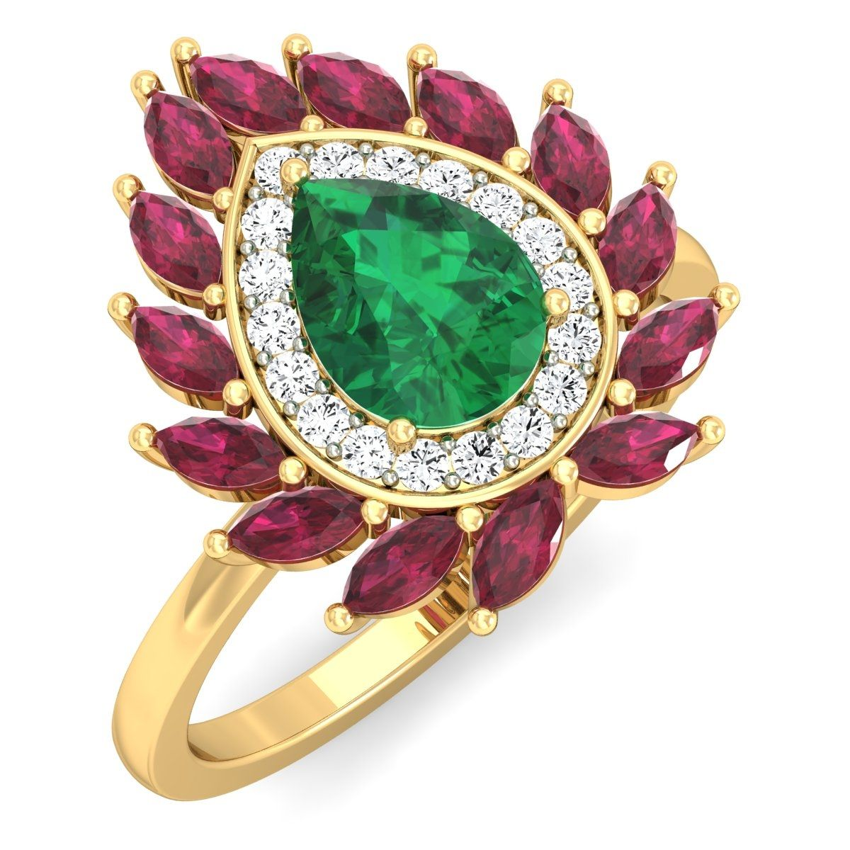 Adorn yourself with beautiful red fire #emerald #rings to mark your bright presence. Buy this ring from Goldnstone.com with best price, 100% certified, hallmarked, 30 days return policy. Shop Now: https://goo.gl/3oKKHX