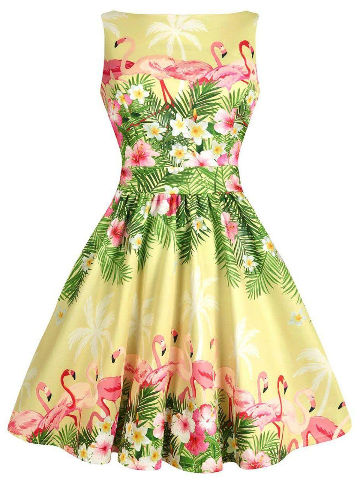 1950s Flamingo Floral Swing Dress Retro Stage Chic Vintage Dresses And Accessories Yellow Tea Dresses Tea Dress Rockabilly Dress [ 1600 x 1200 Pixel ]