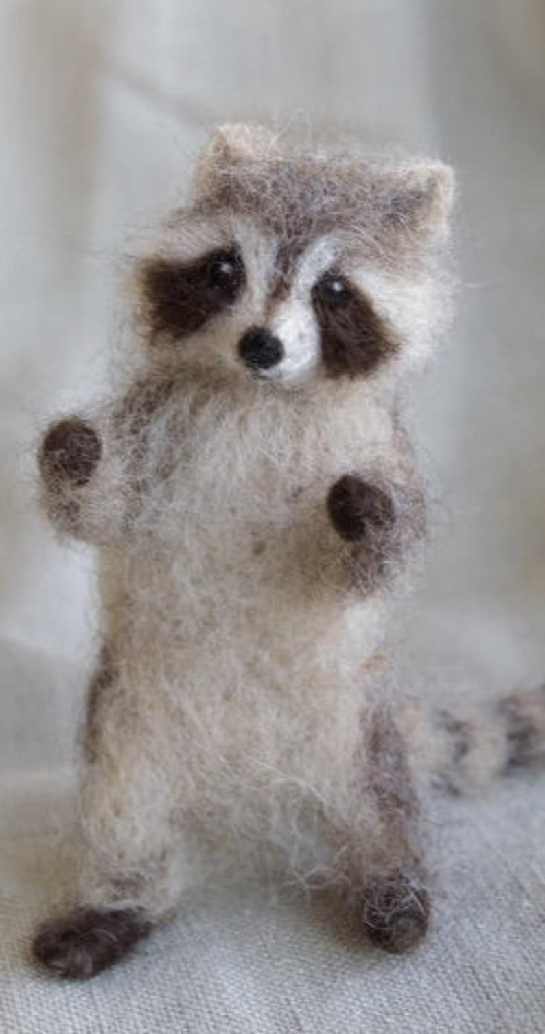 Raccoon Needle Felted Baby, Woodland Baby Animal, Wool Forest Decor, 4 to 5 inches