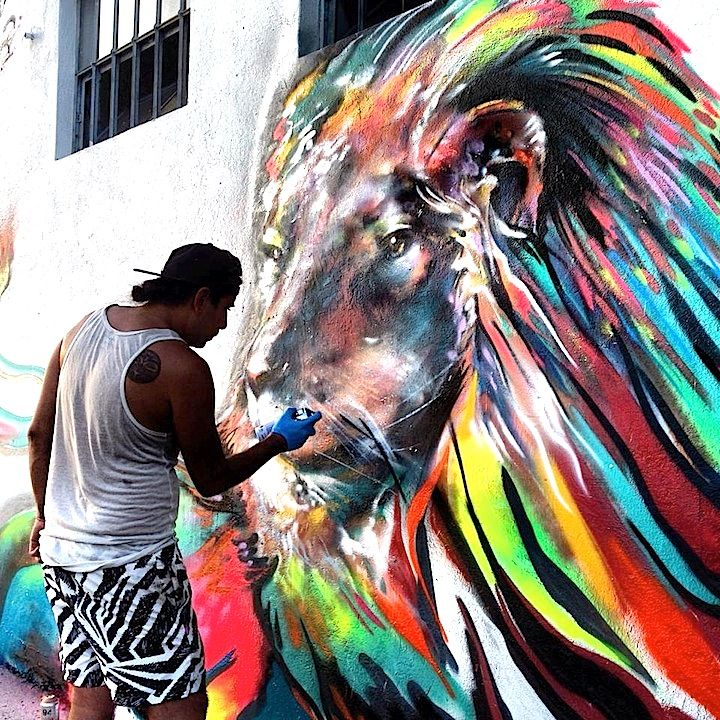 Yatika Starr Fields, Streetart #Street #Art #colorful #Lion #Can #Spray