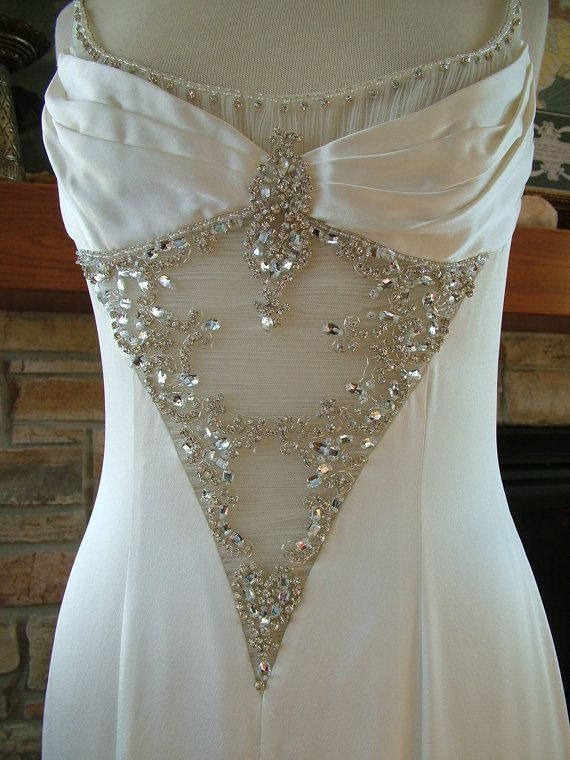 Wedding dress 1930s vintage inspired bias cut godet skirt rhinestonebling bridal gown