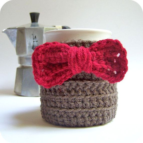 Coffee Mug Tea Cup Cozy Doctor Who Eleventh Doctor red bow tie sci fi crochet handmade