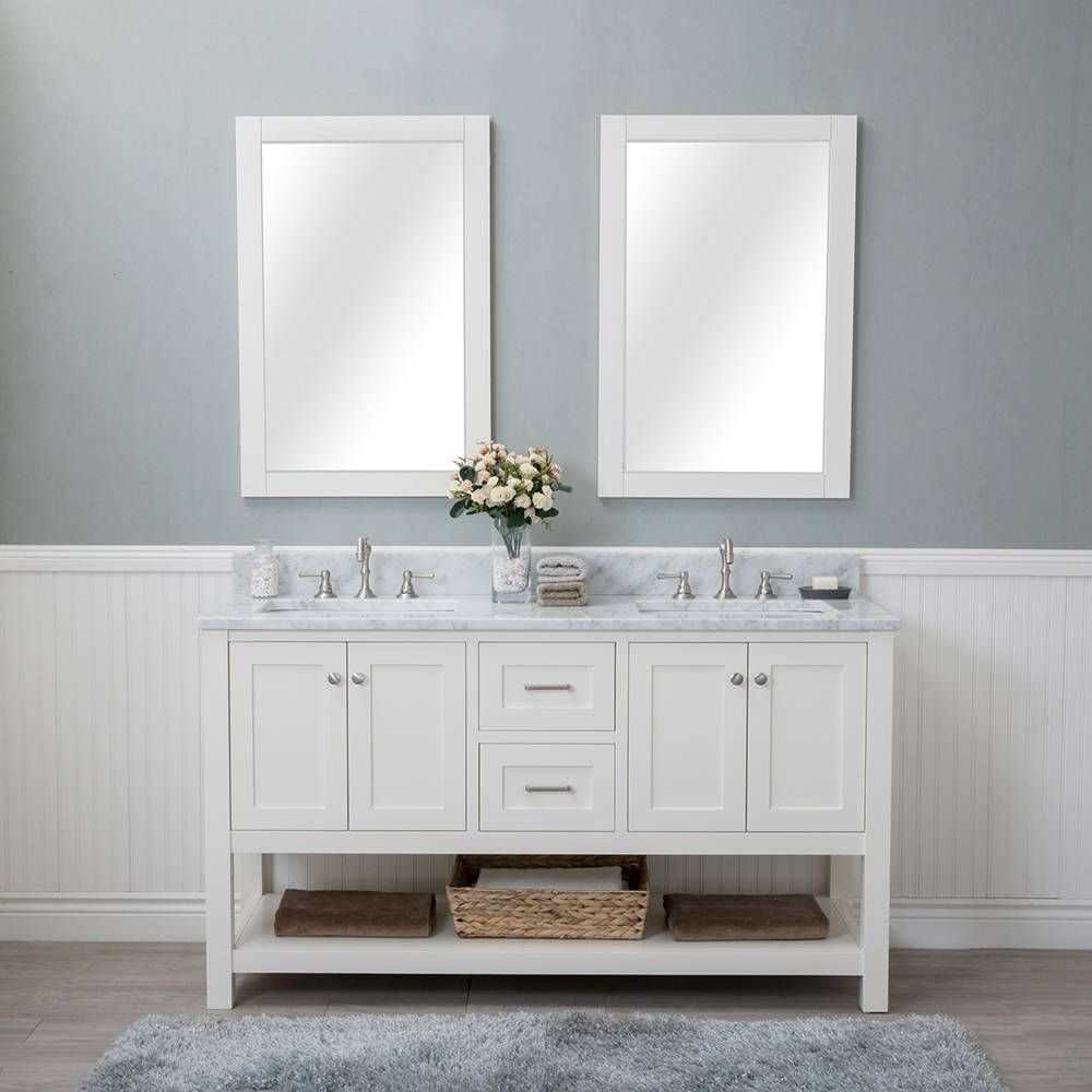 Alya Bath Wilmington White 60 Inch Double Bathroom Vanity With