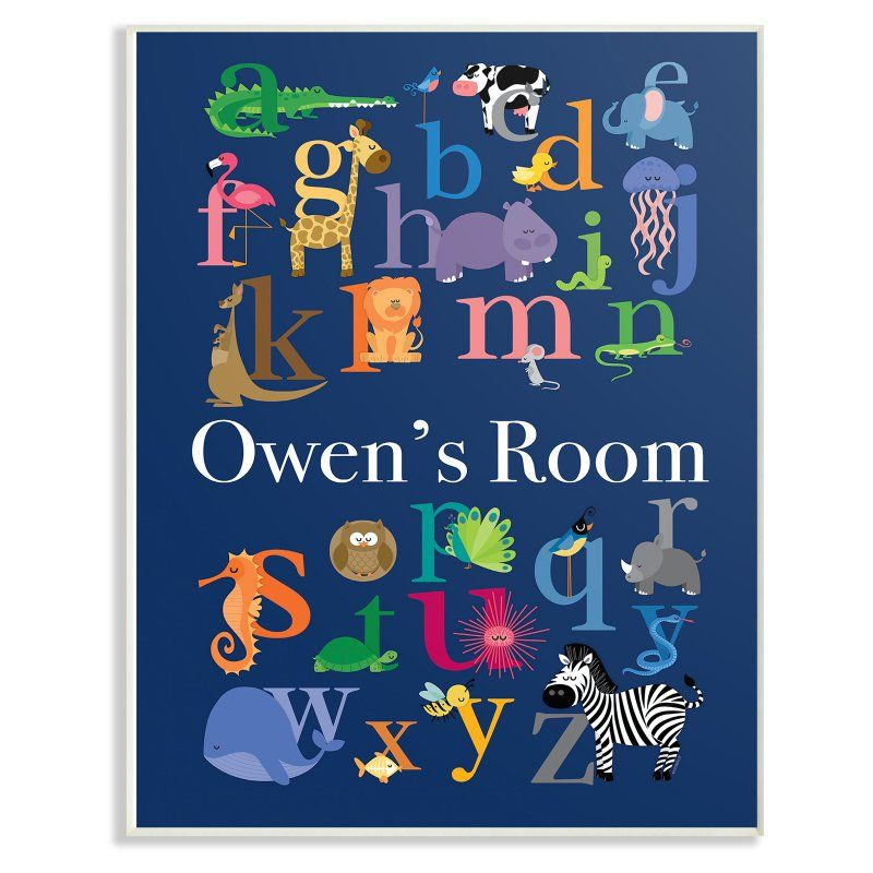 Stupell Decor The Kids Room Alphabet Animal Icons Personalized Wall Plaque Pnp 1094 Wd 10x15 Kids Wall Decor Wall Plaques Kids Decor