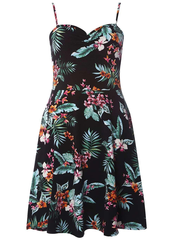 517555dc6c2 Black Tropical Print Camisole Dress