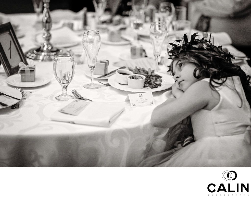 Photography by Calin - Flower Girl Daydreaming at One King West Wedding:   Location: 1 King St W, Toronto, ON M5H 1A1.