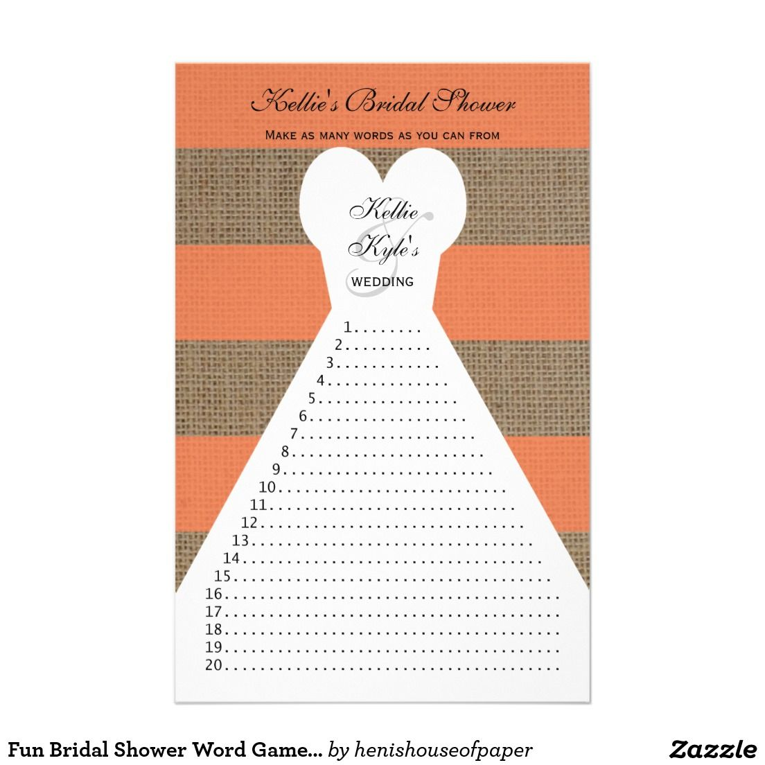 fun bridal shower word games coral flyer flyers fun and word fun bridal shower word games coral 5 5 x 8 5 flyer