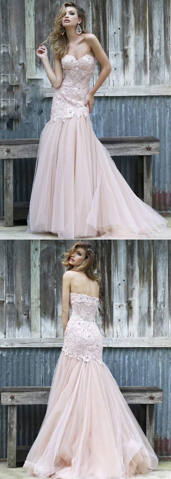 Strapless illusion lace tulle blush nude fitted prom dress