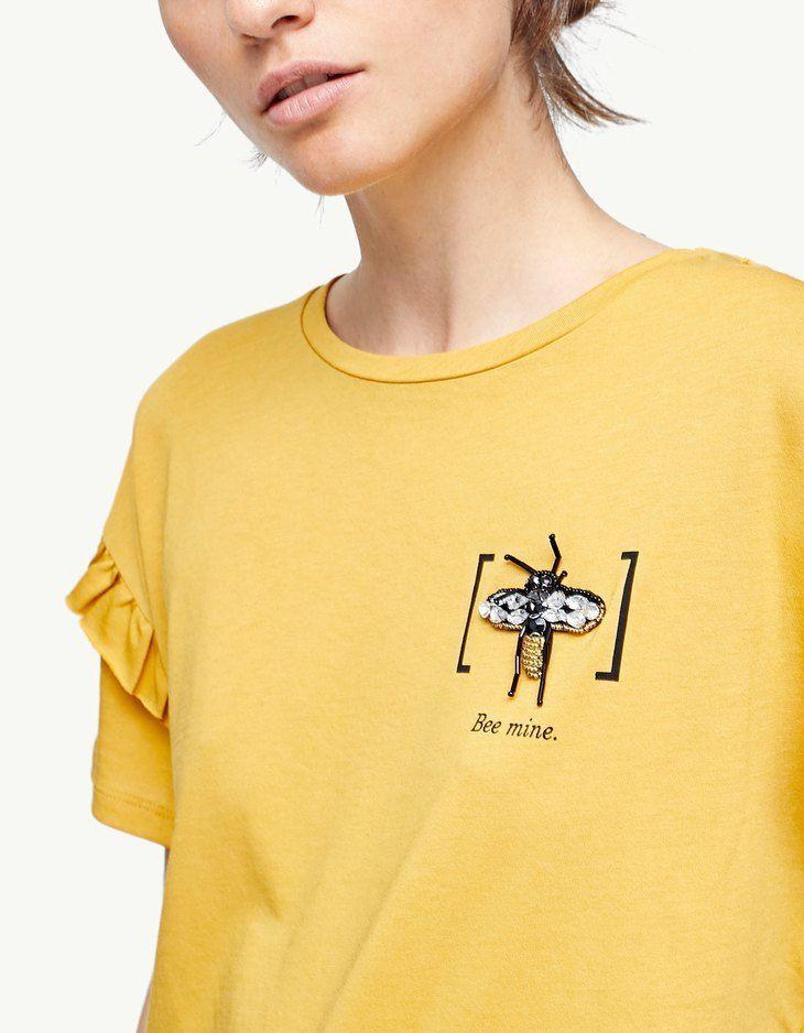 T shirt with jewel appliqués T shirts   Stradivarius