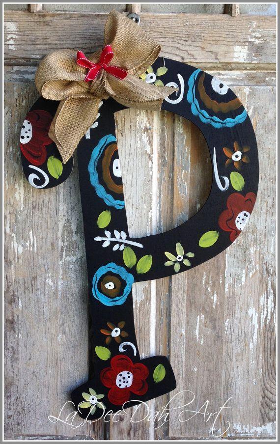 Monogram Letter Initial Door Decor Door Art Spring Summer Welcome Sign Monogrammed Ini Initial Door Hanger Monogram Door Decor Painting Wooden Letters