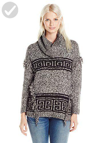 Kensie Women's Fuzzy Mixed Media Sweater Aztec, Black Combo, Medium - All about women (*Amazon Partner-Link)