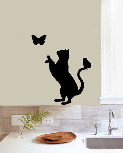 Housewares Vinyl Decal Animal Pet Cat and Butterfly Home Wall Art Decor Removable Stylish Sticker Mural Unique Design for Any Room Decal House http://www.amazon.com/dp/B00D1QXZDY/ref=cm_sw_r_pi_dp_3UTTtb1391KENX56