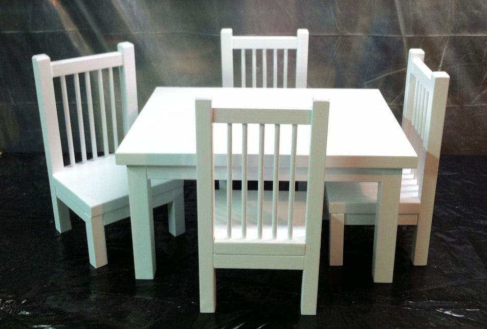 table and chair set for an american girl doll or any 18 inch doll doll furniture ideas. Black Bedroom Furniture Sets. Home Design Ideas