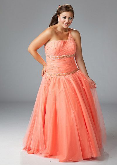 dc480532f47 Sydneys Closet Plus Size Orange Tulle Ball Gown for Prom SC3034 ...